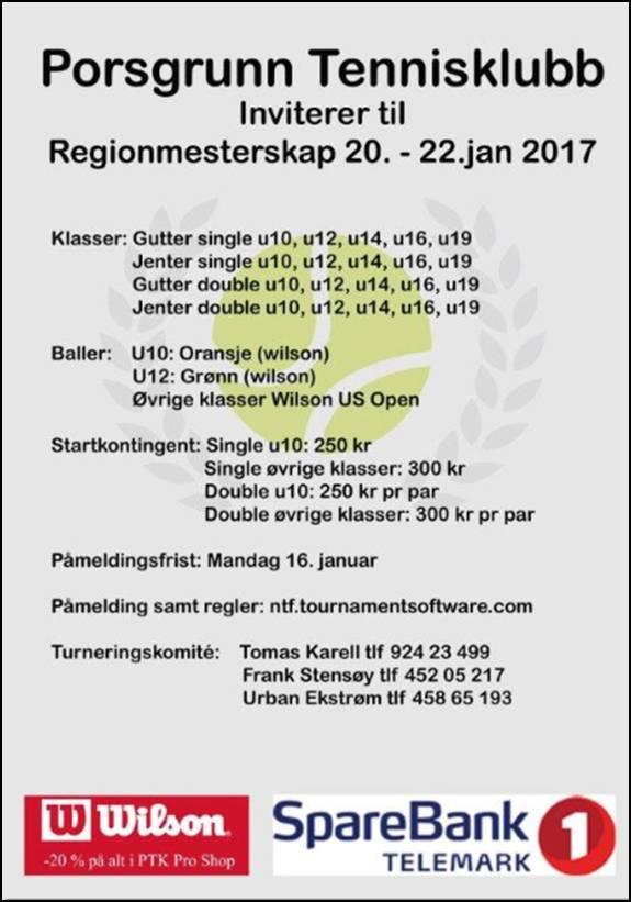 Invitasjon til RM junior i Porsgrunn.